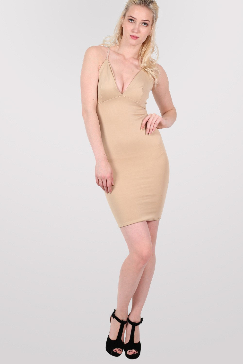 V Front Bodycon Dress in Stone MODEL FRONT
