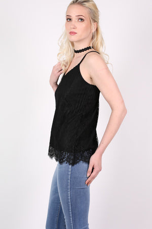 Eyelash Lace Cami Top in Black MODEL SIDE