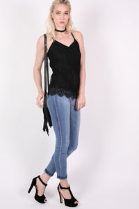 Eyelash Lace Cami Top in Black MODEL FRONT 2