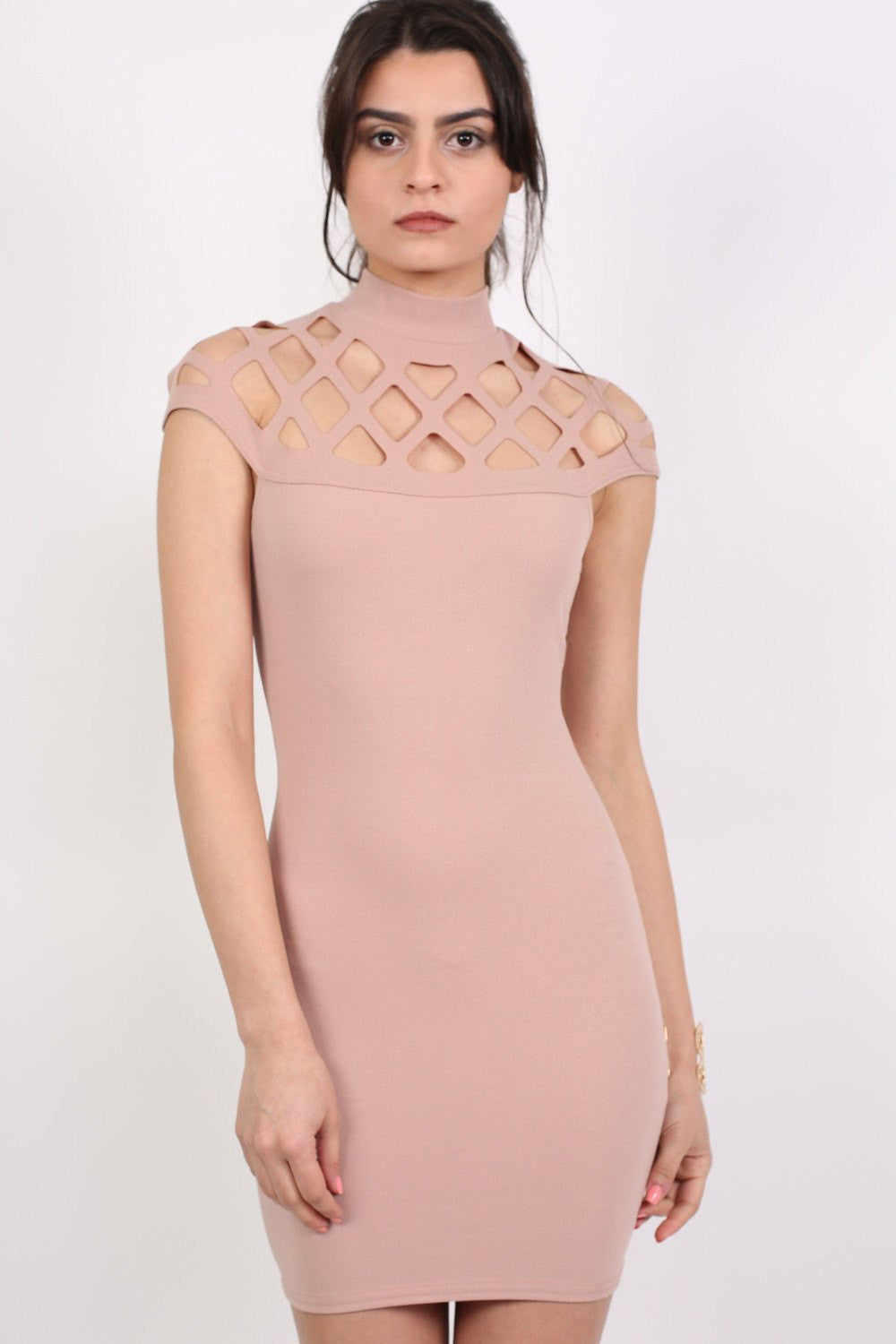 Caged Detail Bodycon Mini Dress in Rose Pink MODEL FRONT