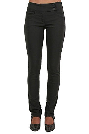 Extended Button Detail Waistband Straight Leg Plain Trousers in Black