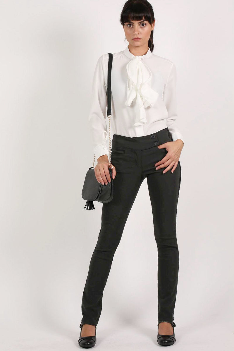 Extended Button Detail Waistband Straight Leg Plain Trousers in Black MODEL FRONT