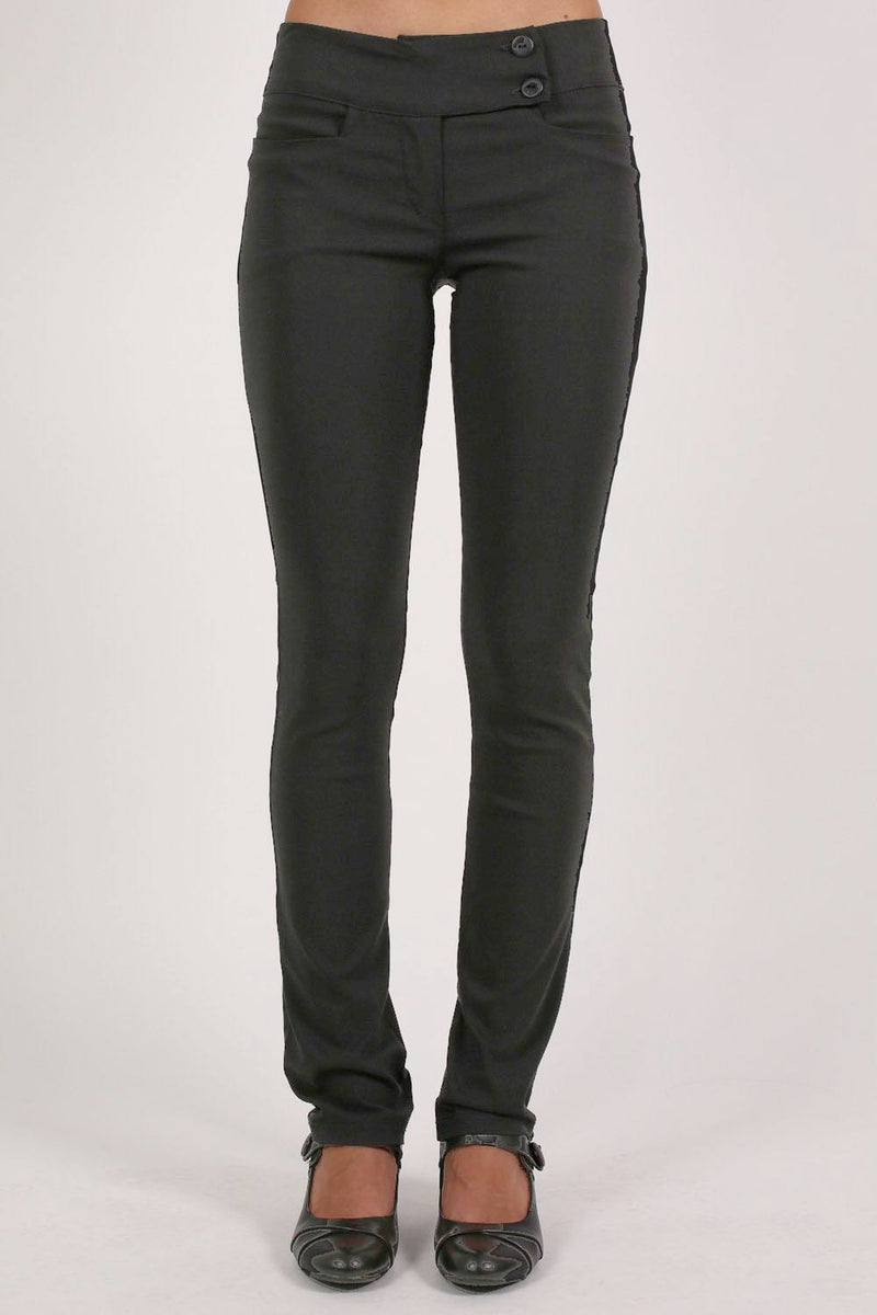 Extended Button Detail Waistband Straight Leg Plain Trousers in Black MODEL FRONT 2