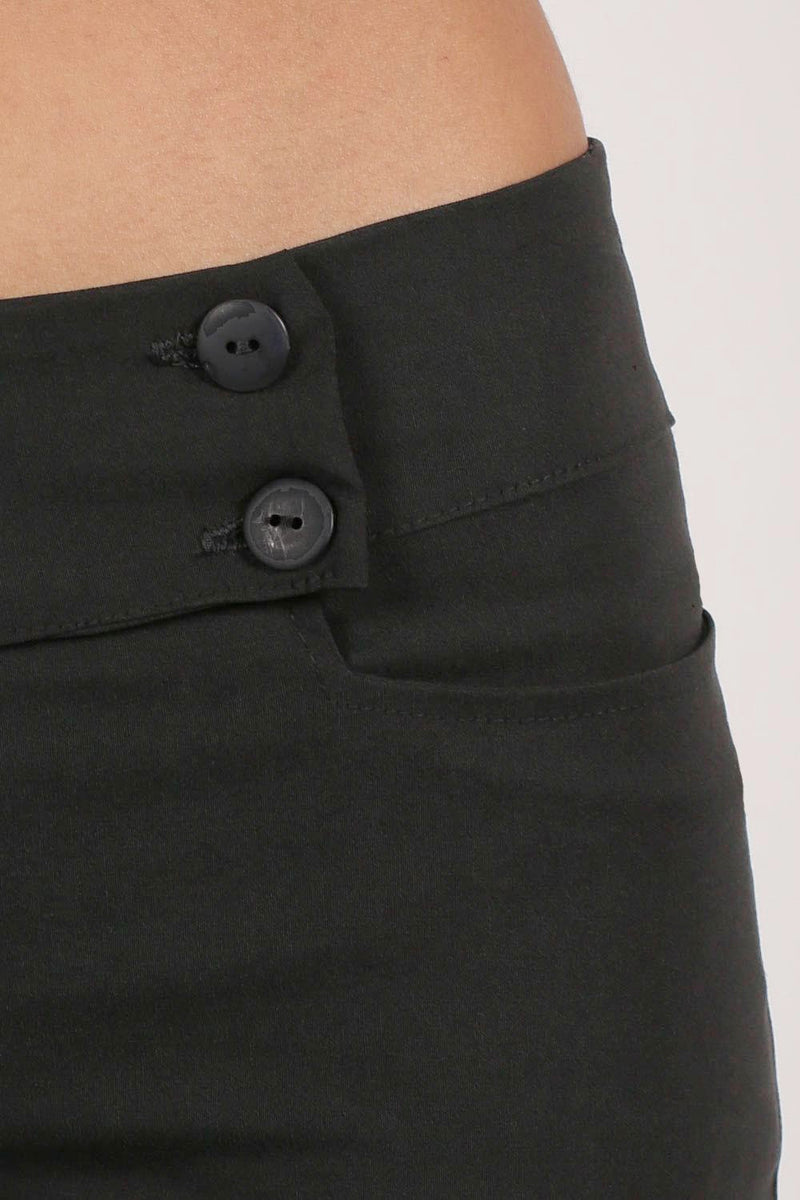 Extended Button Detail Waistband Straight Leg Plain Trousers in Black MODEL CLOSE UP