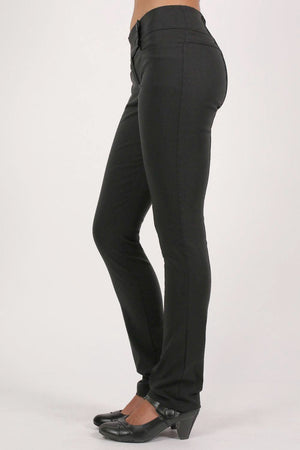 Extended Button Detail Waistband Straight Leg Plain Trousers in Black MODEL SIDE