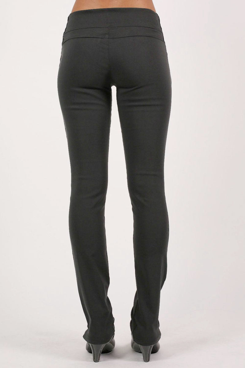 Extended Button Detail Waistband Straight Leg Plain Trousers in Black MODEL BACK