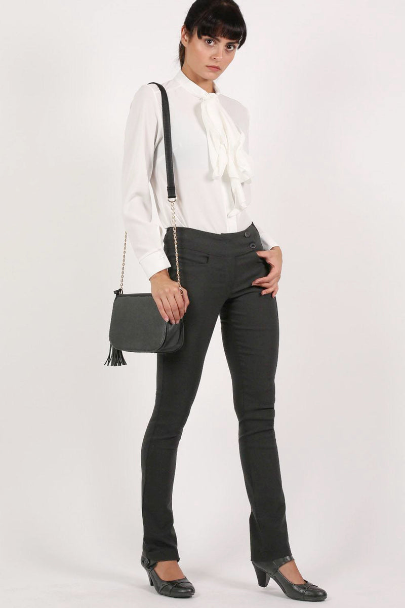 Extended Button Detail Waistband Straight Leg Plain Trousers in Black MODEL FRONT 3