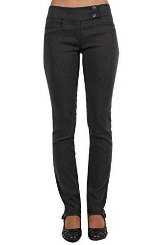 Extended Button Waistband Straight Leg Plain Trousers in Charcoal Grey