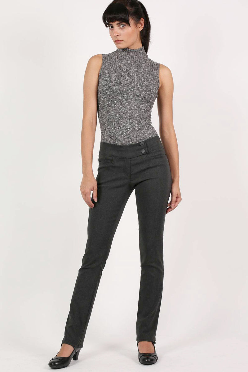Extended Button Detail Waistband Straight Leg Plain Trousers in Charcoal Grey MODEL FRONT