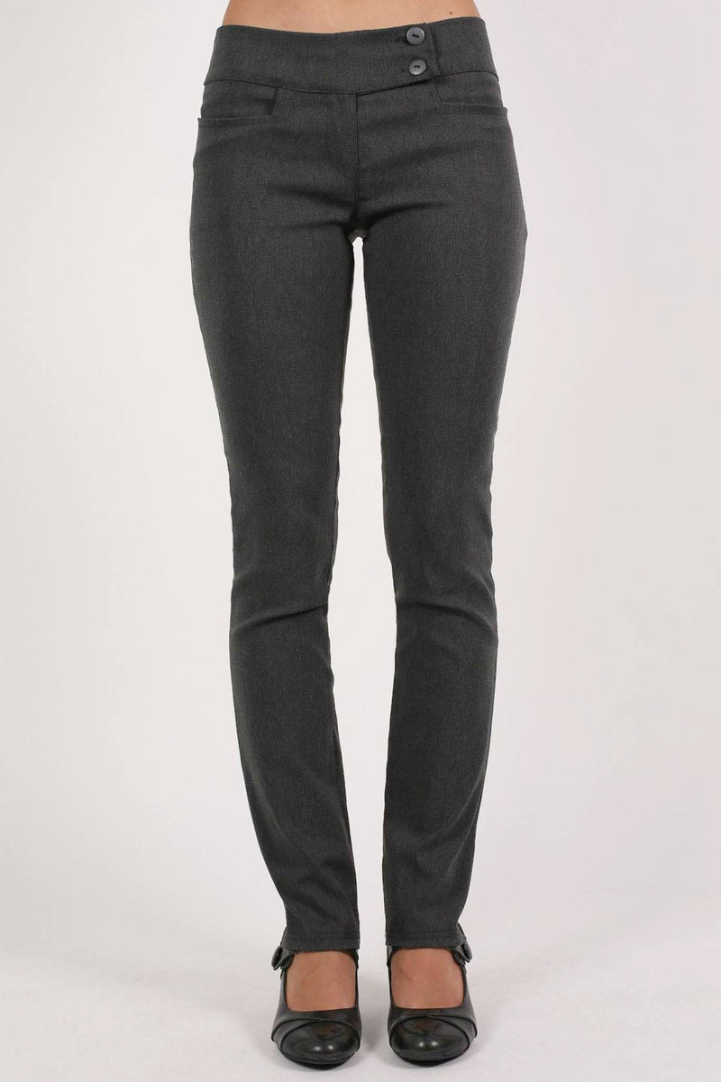 Extended Button Detail Waistband Straight Leg Plain Trousers in Charcoal Grey MODEL FRONT 2