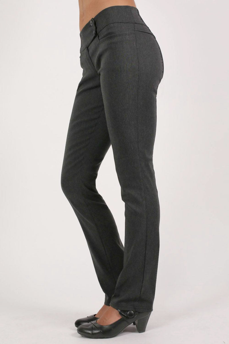Extended Button Detail Waistband Straight Leg Plain Trousers in Charcoal Grey MODEL SIDE