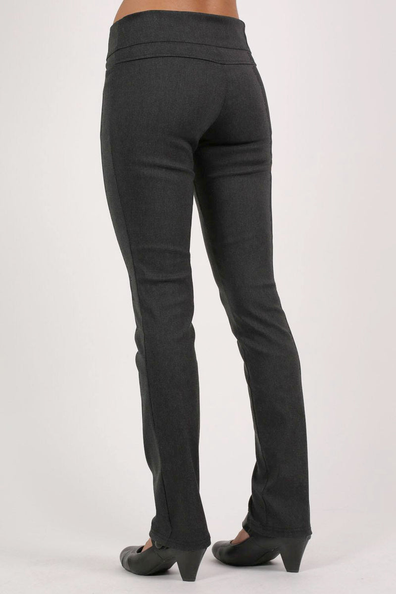 Extended Button Detail Waistband Straight Leg Plain Trousers in Charcoal Grey MODEL BACK