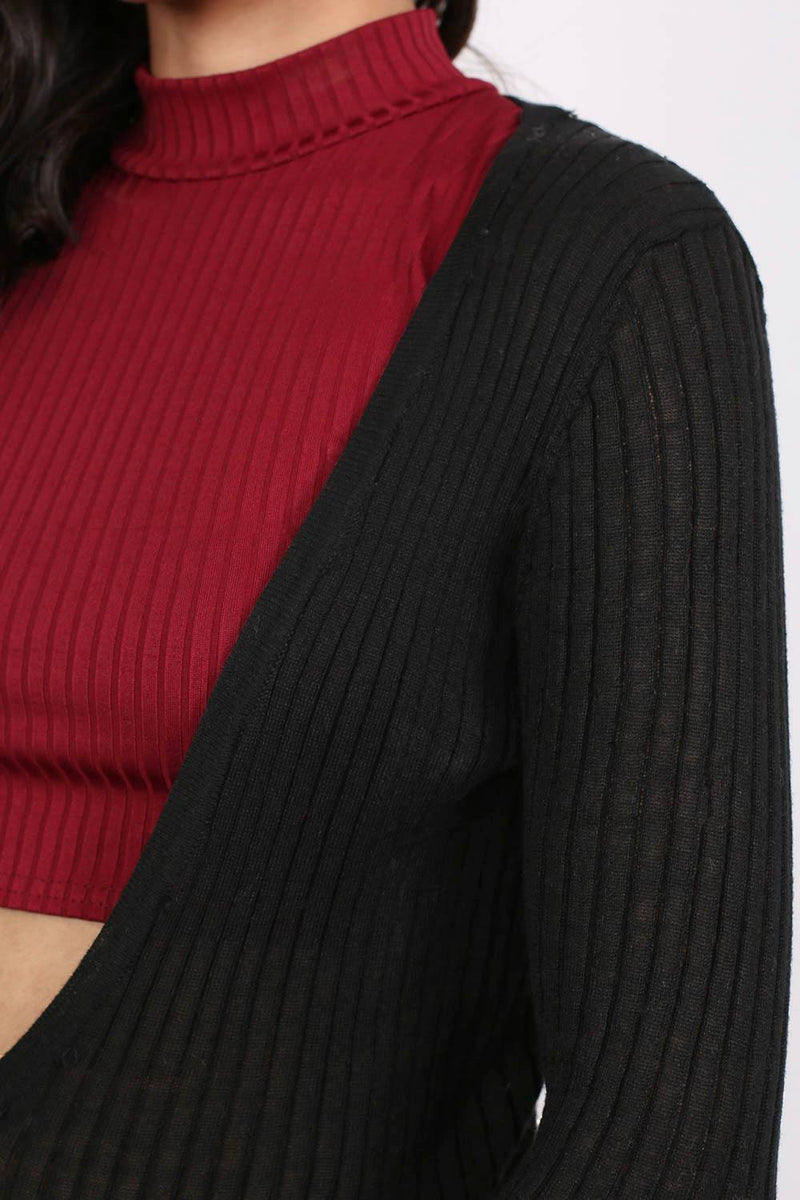 Ribbed Fine Knit Long Cardigan in Black MODEL CLOSE UP