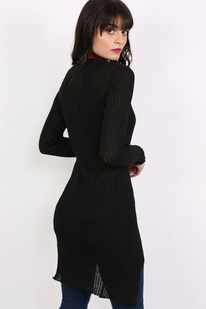 Ribbed Fine Knit Long Cardigan in Black MODEL BACK