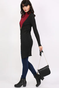 Ribbed Fine Knit Long Cardigan in Black MODEL SIDE 2