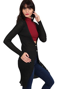 Ribbed Fine Knit Long Cardigan in Black