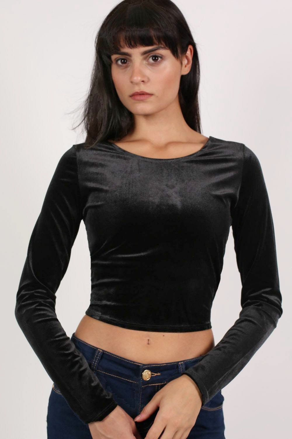 Long Sleeve Velvet Crop Top in Black MODEL FRONT