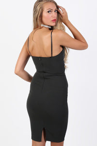 Plain Strappy Bow Detail Bodycon Midi Dress in Black 2