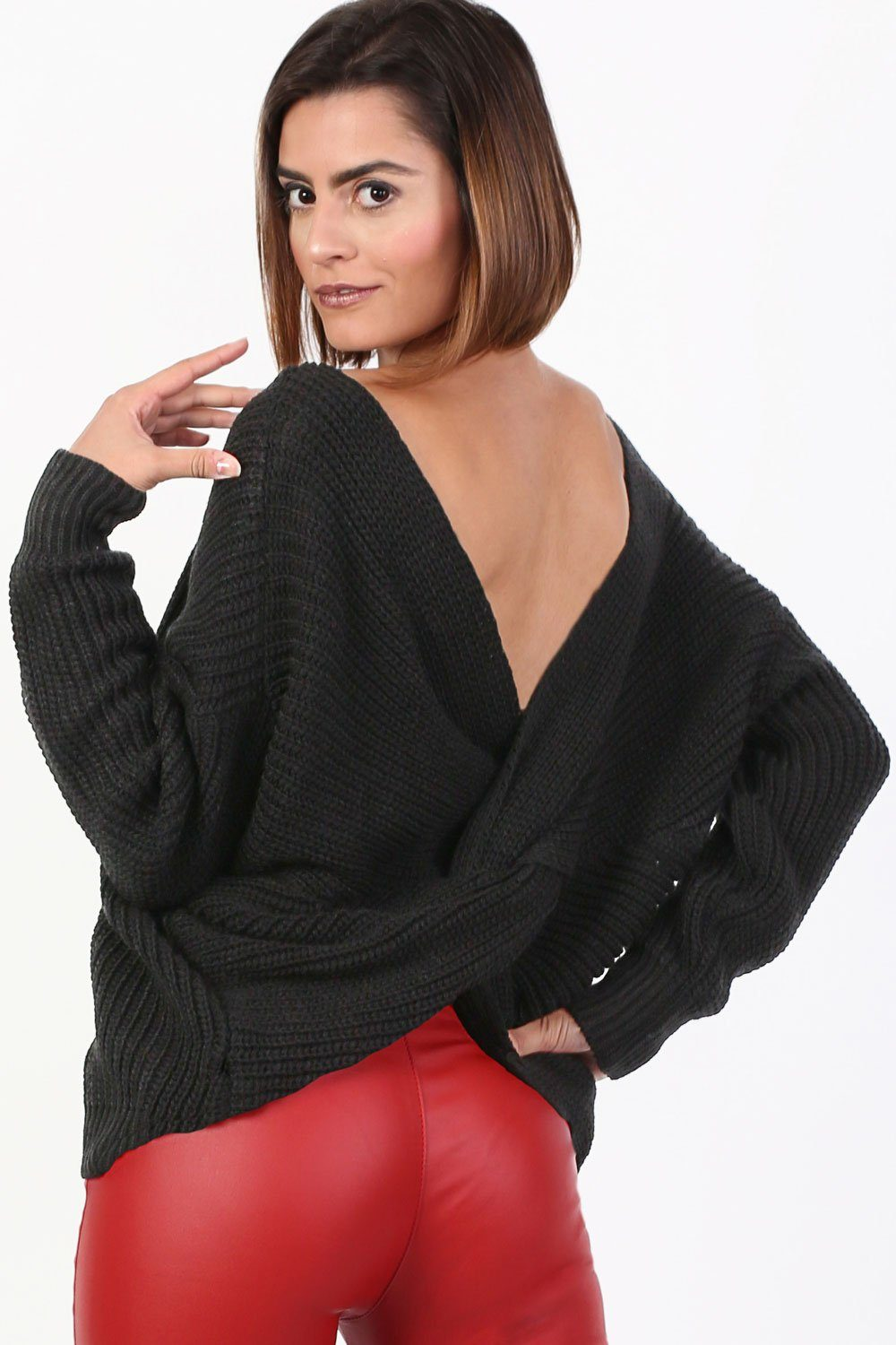 Long Sleeve Chunky Knit Jumper With Knot Back Detail in Black 1
