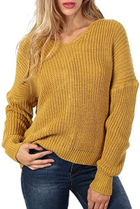 Long Sleeve Chunky Knit Jumper With Knot Back Detail in Mustard Yellow