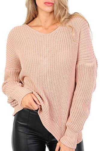 Long Sleeve Chunky Knit Jumper With Knot Back Detail in Rose Pink