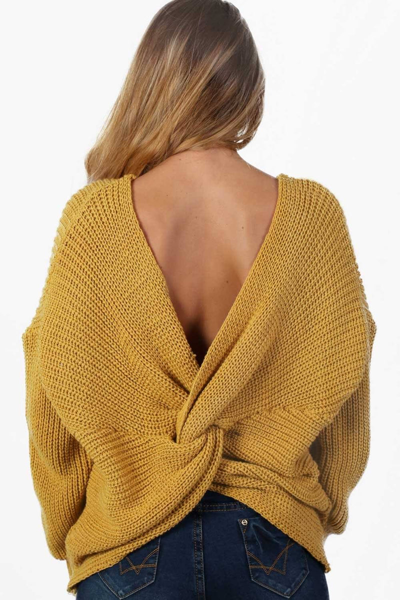 Long Sleeve Chunky Knit Jumper With Knot Back Detail in Mustard Yellow 1