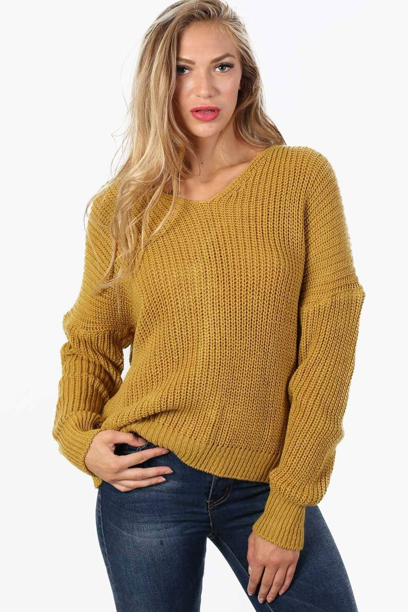 Long Sleeve Chunky Knit Jumper With Knot Back Detail in Mustard Yellow 2