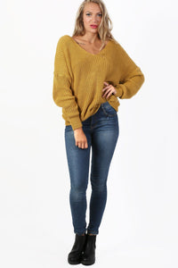 Long Sleeve Chunky Knit Jumper With Knot Back Detail in Mustard Yellow 3