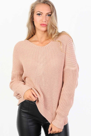 Long Sleeve Chunky Knit Jumper With Knot Back Detail in Rose Pink 2