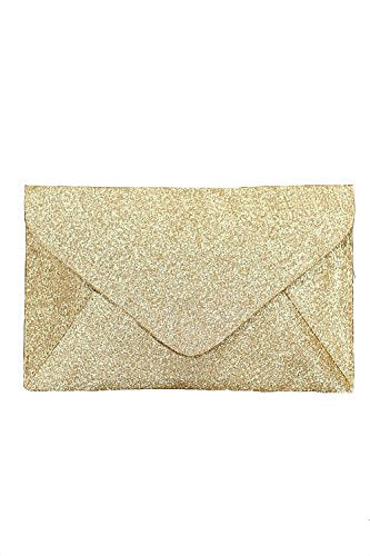 Glitter Envelope Clutch Bag in Gold