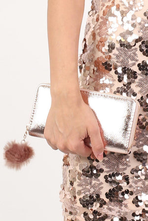 Faux Fur Pom Pom Detail Shiny Metallic Clutch Purse in Rose Gold 1