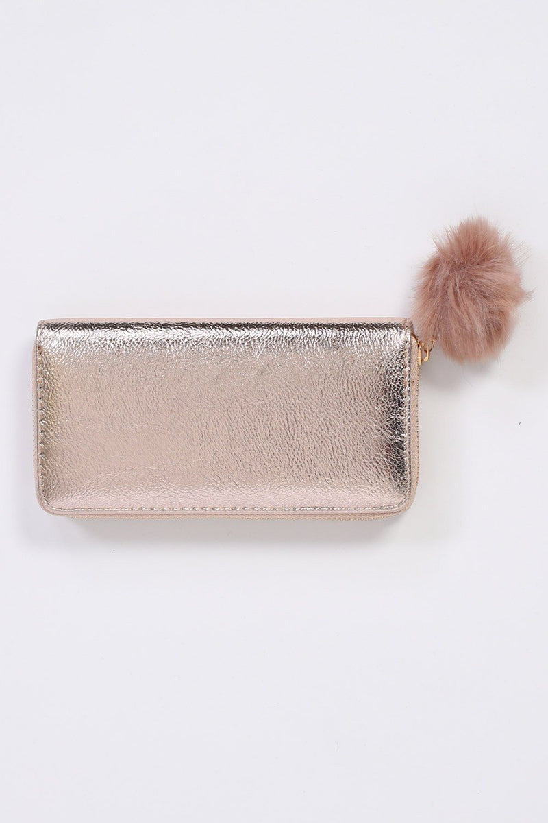 Faux Fur Pom Pom Detail Shiny Metallic Clutch Purse in Rose Gold 3