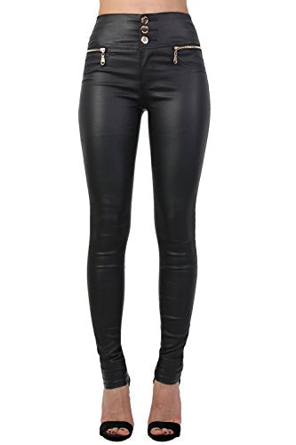 Faux Leather Three Button High Waisted Skinny Trousers in Black