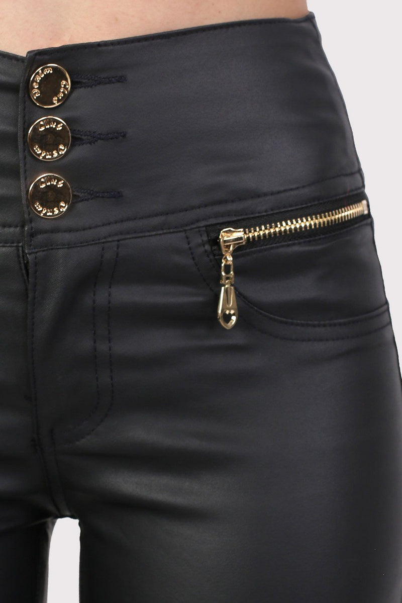 Faux Leather Three Button High Waisted Skinny Trousers in Black 3
