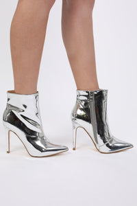 Metallic Pointed Toe Stiletto High Heel Ankle Boots in Silver 2