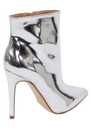 Metallic Pointed Toe Stiletto High Heel Ankle Boots in Silver 6