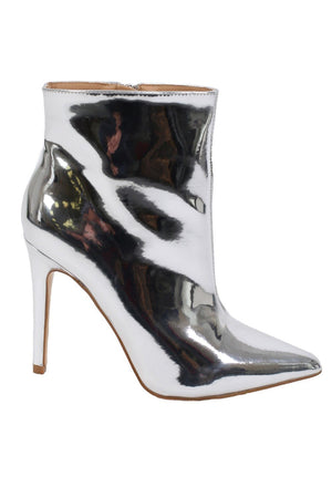 Metallic Pointed Toe Stiletto High Heel Ankle Boots in Silver 5