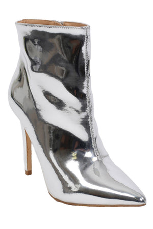 Metallic Pointed Toe Stiletto High Heel Ankle Boots in Silver 4