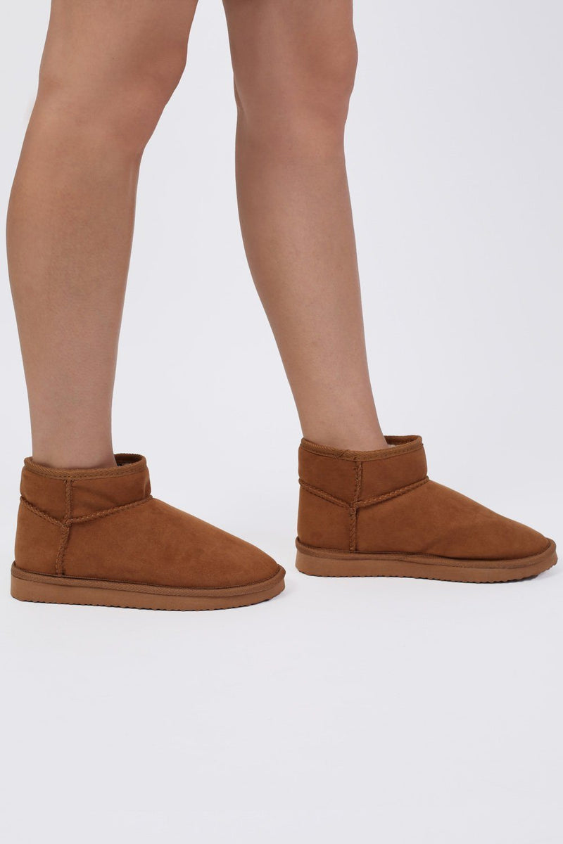 Faux Suede Flat Ankle Boots in Tan Brown 2