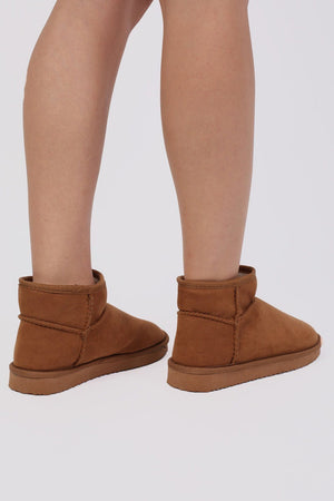 Faux Suede Flat Ankle Boots in Tan Brown 3