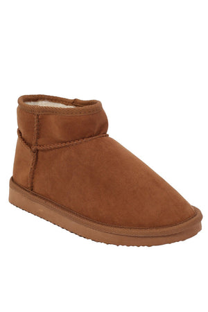 Faux Suede Flat Ankle Boots in Tan Brown 4