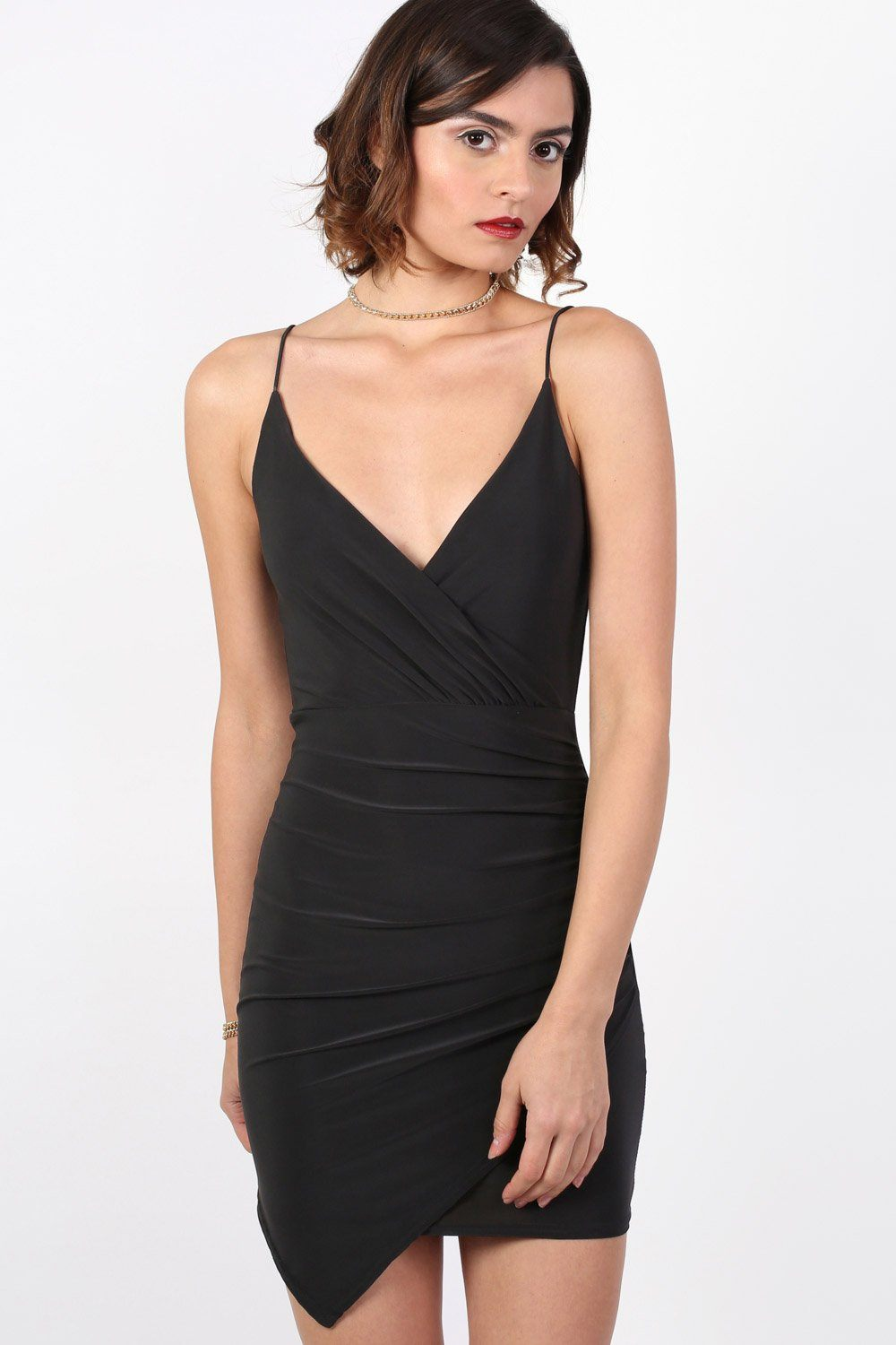 Strappy Wrap Front Bodycon Mini Dress in Black 1