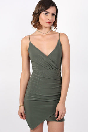 Strappy Wrap Front Bodycon Mini Dress in Khaki Green 1