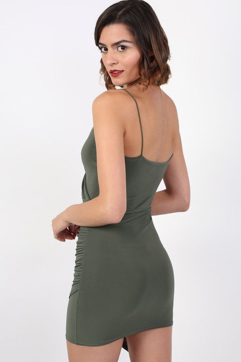 Strappy Wrap Front Bodycon Mini Dress in Khaki Green 2