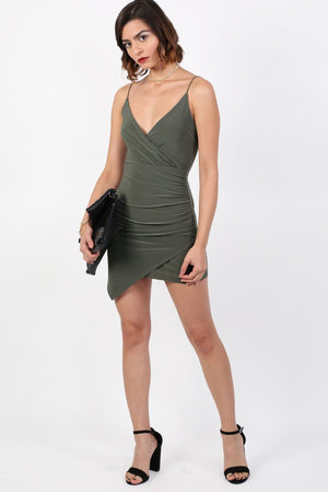 Strappy Wrap Front Bodycon Mini Dress in Khaki Green 3