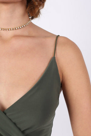 Strappy Wrap Front Bodycon Mini Dress in Khaki Green 4