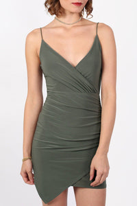 Strappy Wrap Front Bodycon Mini Dress in Khaki Green 5