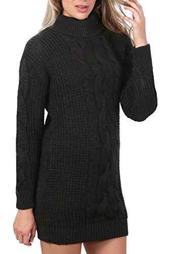 Cable Knit Long Sleeve Roll Neck Jumper Dress in Black