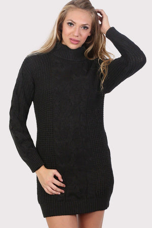 Cable Knit Long Sleeve Roll Neck Jumper Dress in Black 1