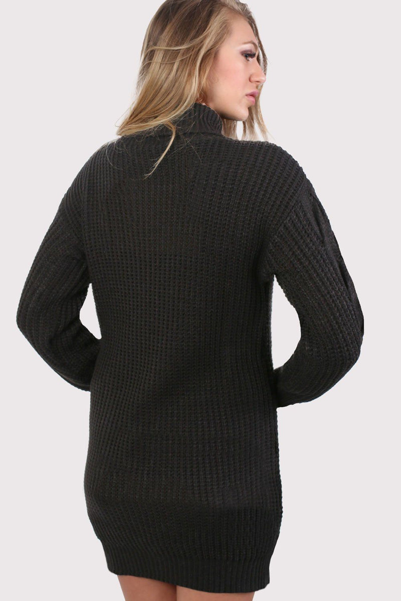 Cable Knit Long Sleeve Roll Neck Jumper Dress in Black 2